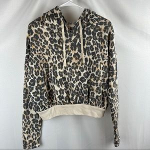 NWT BP Cropped Animal Print Hoodie